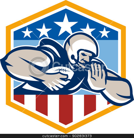 American Football Running Back Fend-Off Crest stock vector clipart, Illustration of an american football gridiron running back player running with ball facing front fending off with arm set inside USA stars and stripes crest shield done in retro style. by patrimonio