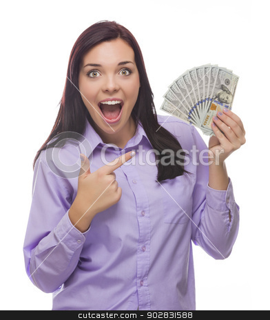 Mixed Race Woman Holding the New One Hundred Dollar Bills stock photo, Excited Mixed Race Woman Holding the Newly Designed United States One Hundred Dollar Bills Isolated on a White Background. by Andy Dean