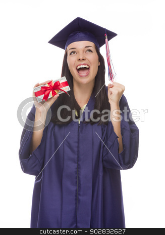 Female Graduate Holding Stack of Gift Wrapped Hundred Dollar Bil stock photo, Happy Female Graduate in Cap and Gown Holding Stack of Gift Wrapped Hundred Dollar Bills Isolated on a White Background. by Andy Dean