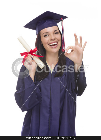 Mixed Race Graduate in Cap and Gown Holding Her Diploma stock photo, Happy Graduating Mixed Race Female Wearing Cap and Gown with Her Diploma Gives Ok Gesture Isolated on a White Background.  by Andy Dean
