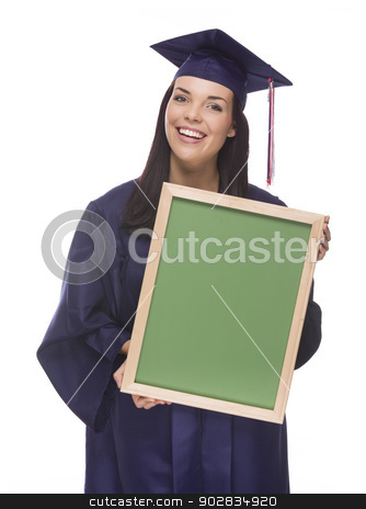 Mixed Race Female Graduate in Cap and Gown Holding Chalkboard stock photo, Happy Graduating Mixed Race Female Wearing Cap and Gown Holding a Blank Chalkboard Isolated on a White Background.  by Andy Dean