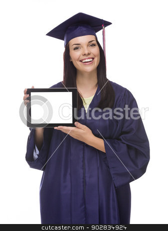 Female Graduate in Cap and Gown Holding Blank Computer Tablet stock photo, Happy Mixed Race Female Graduate in Cap and Gown Holding Blank Computer Tablet Isolated on White. by Andy Dean