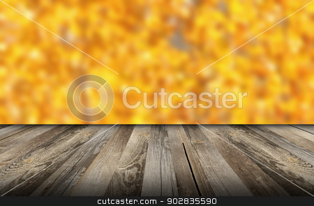 beautiful view from wooden balcony stock photo, old wooden balcony with beautiful autumn forest background,  for your design by coroiu octavian