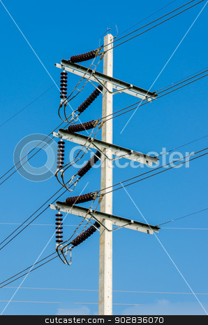 High power electricity post stock photo, High power electricity post on blue sky background by Napat Thanyamanorot