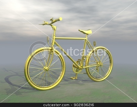 Golden mountain bike - 3D render stock photo, Golden mountain bike in grey cloudy background by Elenarts