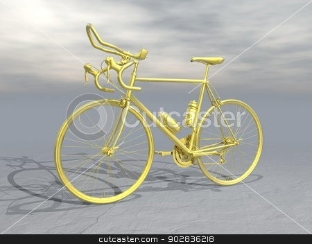 Golden race bike - 3D render stock photo, Golden complex race bike in grey background by Elenarts