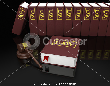 Legal education stock photo, Gavel and law books, symbols of law and legal literature by Harvepino
