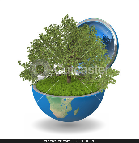 Oak tree inside planet stock photo, Oak tree growing inside opened planet Earth, isolated on white background, concept of ecology by Harvepino