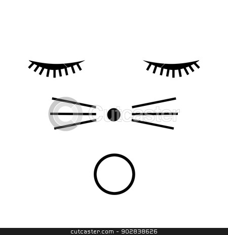 O cat white stock photo, Cat face with a surprised look on white background. by Henrik Lehnerer