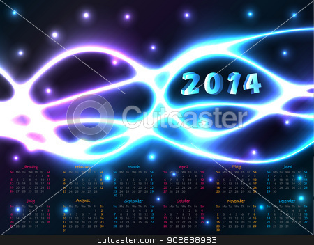 2014 calendar with plasma background  stock vector clipart, 2014 calendar design with abstract plasma background  by Mihaly Pal Fazakas