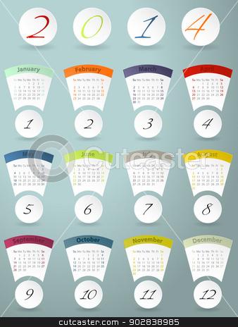 Colorful calendar design for 2014 stock vector clipart, Cool colorful calendar design for the year 2014 by Mihaly Pal Fazakas