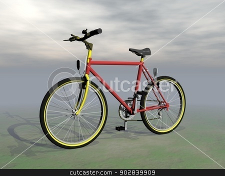 Mountain bike - 3D render stock photo, Red mountain bike in grey cloudy background by Elenarts