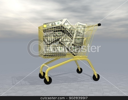 Buying wealth - 3D render stock photo, Lots of dollars into golden shopping cart in grey background by Elenarts