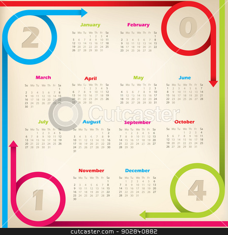 Cool new 2014 calendar with arrow ribbons stock vector clipart, Cool new 2014 calendar design with circleing arrow ribbons by Mihaly Pal Fazakas