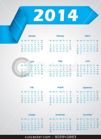 Blue ribbon calendar design for 2014 stock vector clipart, Blue ribbon calendar design for year 2014 by Mihaly Pal Fazakas
