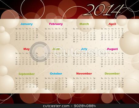 2014 calendar with bubbles and circles stock vector clipart, Abstract 2014 calendar design with bubbles and circles by Mihaly Pal Fazakas