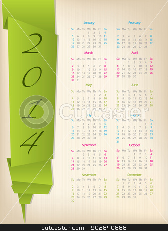 2014 calendar with green origami arrow stock vector clipart, 2014 calendar with green origami paper on light background  by Mihaly Pal Fazakas