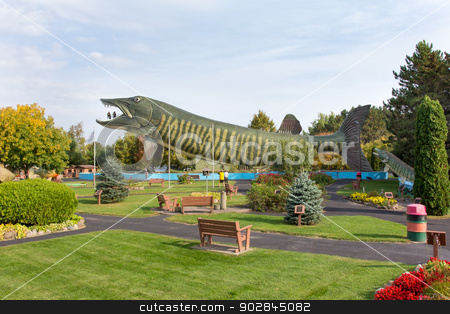 National Freshwater Fishing Hall of Fame stock photo, HAYWARD, WI/USA - SEPTEMBER 28: Unidentified visitors at the National Freshwater Fishing Hall of Fame, a non-profit museum featuring large statues of freshwater fish. September 28, 2013. by Ken Wolter