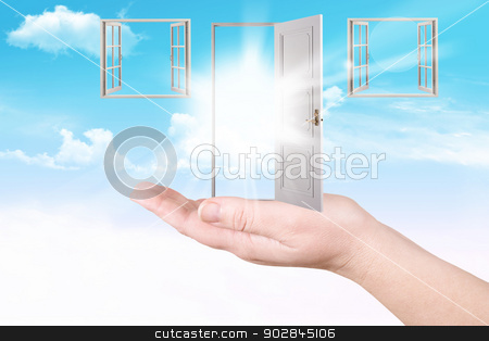 Doors and windows on a palm stock photo, Abstract. Doors and windows on a palm. Dream by ukrainec