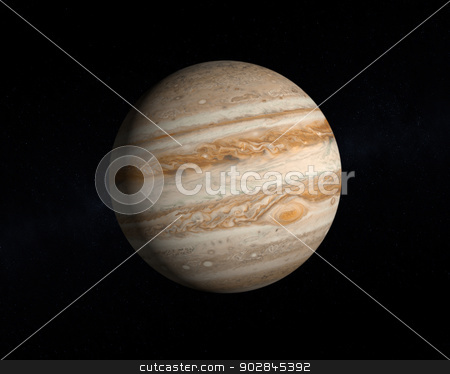 Planet Jupiter stock photo, A rendering of the Gas Planet Jupiter on a slightly starry background. by Tristan3D
