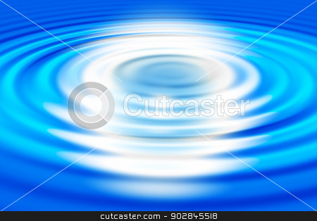 Ripples on water stock photo, Round ripples on blue water. Blue  background by ukrainec