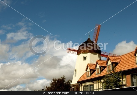 Windmill Sulvang stock photo, One of the windmills in Sulvang California. by Henrik Lehnerer
