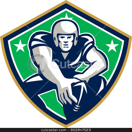 American Football Center Snap Front Shield stock vector clipart, Illustration of an american football gridiron player center with hand on ball ready to snap facing front set inside crest shield with stars done in retro style. by patrimonio