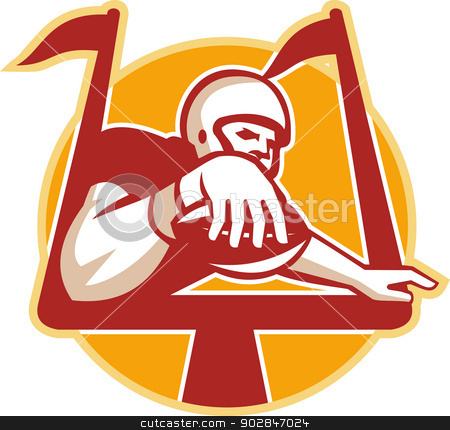 American Football Receiver Scoring Touchdown stock vector clipart, Illustration of an american football gridiron receiver with ball scoring touchdown under the goal post set inside circle done in retro style. by patrimonio