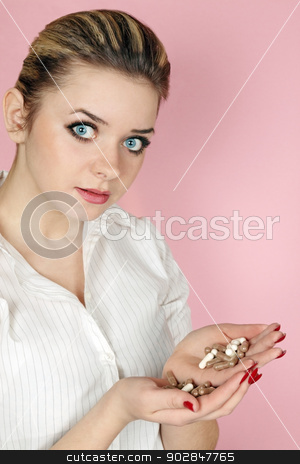 woman holds the tablets stock photo, woman holds in the hands of the tablet by Iuliia   Malivanchuk
