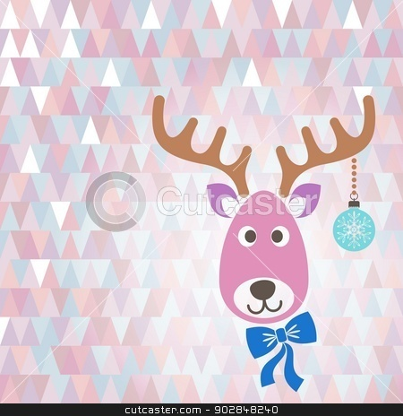 Christmas card stock vector clipart, Christmas vector card with cute reindeer pastel colors by blumer