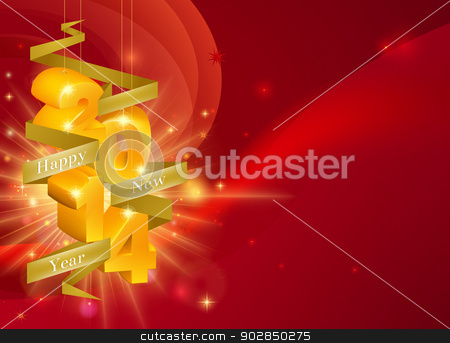 Red Happy New Year 2014 Background stock vector clipart, A Happy New Year 2014 Background with 3d ornaments with the year on them and a ribbon reading Happy New Year, framing copyspace on the right  by Christos Georghiou
