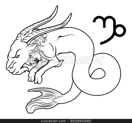 Capricorn zodiac horoscope astrology sign stock vector clipart, Illustration of Capricorn the sea goat zodiac horoscope astrology sign by Christos Georghiou