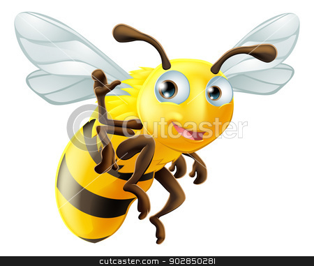 Cartoon Bee Waving stock vector clipart, A cute cartoon bee mascot waving by Christos Georghiou