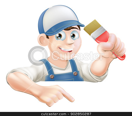 Painter pointing at banner stock vector clipart, A cartoon painter or decorator with a paintbrush peeking over a sign or banner and pointing at it by Christos Georghiou