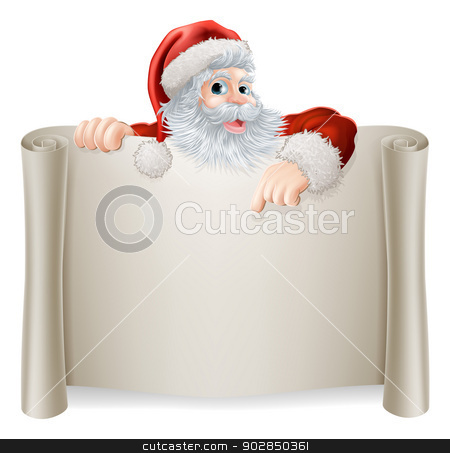 Christmas Vintage Santa Sign stock vector clipart, Christmas Vintage Santa Sign with a retro vintage style Santa pointing down at a scroll poster sign by Christos Georghiou