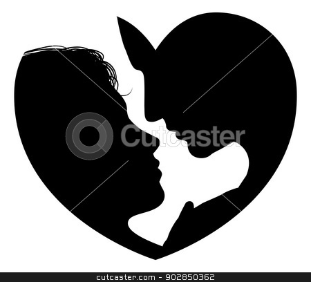 Couple faces heart silhouette stock vector clipart, Couple faces heart silhouette concept. Silhouette of man and womans heads forming a heart shape by Christos Georghiou