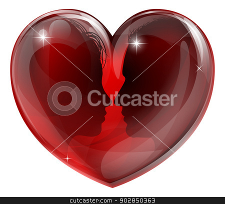Man and woman in love stock vector clipart, Man and woman in love, faces in profile facing each other in a glossy heart shape by Christos Georghiou