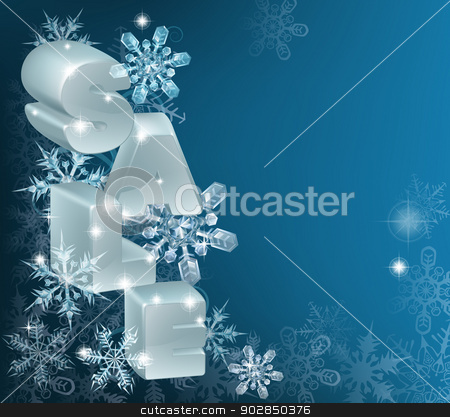 Christmas or New Year Sale Background stock vector clipart, A Christmas or New Year Sale Background with the word sale on hanging ornaments with snowflakes and framed copy-space by Christos Georghiou