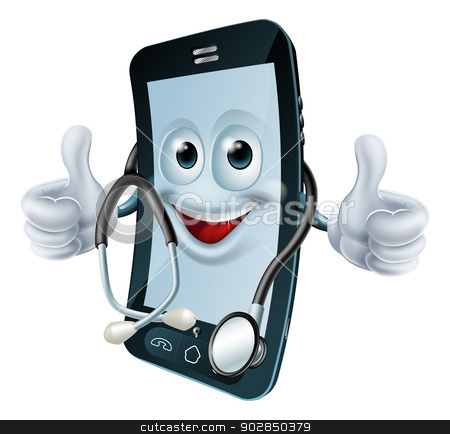 Phone man with a stethoscope stock vector clipart, Cell phone man with a stethoscope round his neck giving a thumbs up. Health app concept by Christos Georghiou