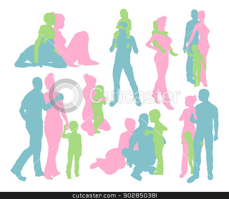 Happy family detailed silhouettes stock vector clipart, High quality and very detailed silhouettes of a young happy family, mother and father and child, in various poses  by Christos Georghiou