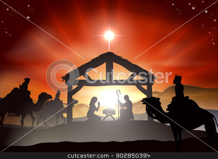 Christmas Nativity Scene stock vector clipart, Nativity Christmas scene with baby Jesus in the manger in silhouette, three wise men or kings and star of Bethlehem by Christos Georghiou
