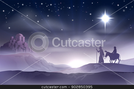 Mary and Joseph Nativity Christmas Illustration stock vector clipart, An illustration of Mary and Joseph in the dessert with a donkey on Christmas Eve searching for a place to stay. Bethlehem city in the background. Nativity story illustration. by Christos Georghiou