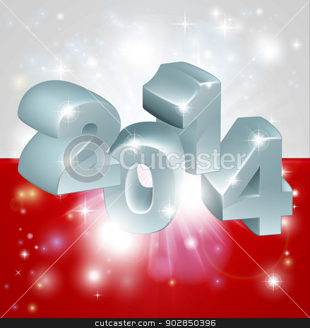 2014 Polish flag stock vector clipart, Flag of Poland 2014 background. New Year or similar concept by Christos Georghiou