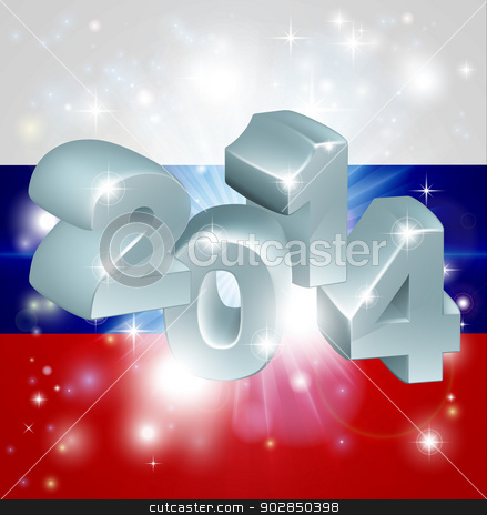 2014 Russian flag stock vector clipart, Flag of Russian Federation 2014 background. New Year or similar concept by Christos Georghiou