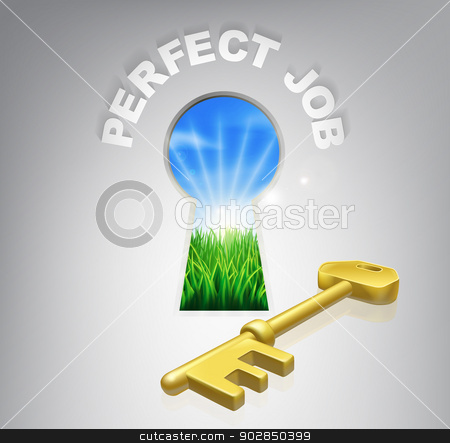 Key to perfect job stock vector clipart, The key to perfect job or career human resources concept of an idyllic sunrise over green fields seen through a keyhole with a golden key and perfect job sign over it. by Christos Georghiou
