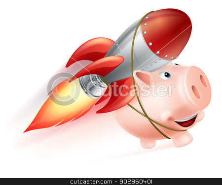 Rocket Piggy Bank stock vector clipart, An illustration of a piggy bank with a rocket on his back flying through the air by Christos Georghiou