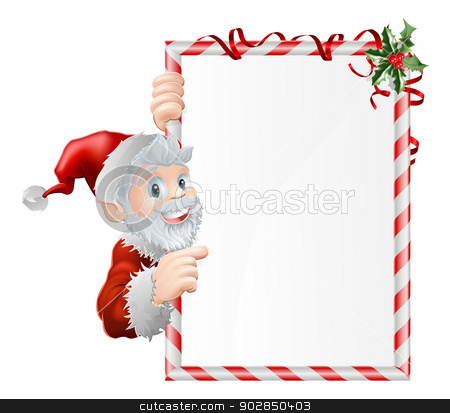Santa Cartoon Xmas Sign stock vector clipart, Santa cartoon Xmas sign graphic with Santa Claus pointing at the sign decorated with holly by Christos Georghiou