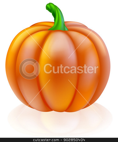 Pumpkin illustration stock vector clipart, An illustration of a big shiny orange pumpkin by Christos Georghiou