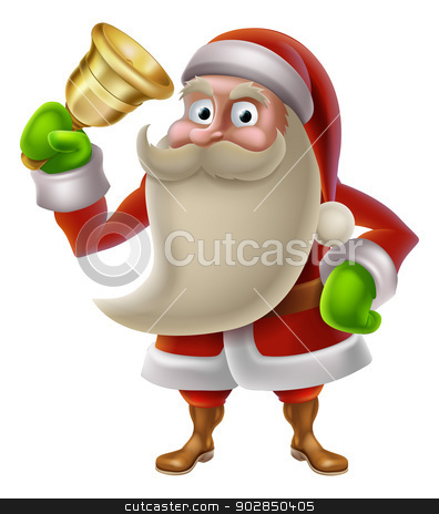 Santa Claus ringing a bell stock vector clipart, A Christmas illustration of cartoon Santa Claus ringing a golden bell by Christos Georghiou