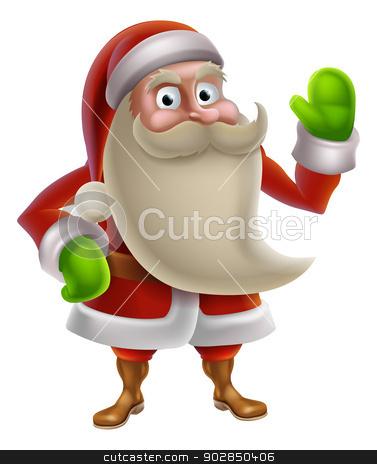 Cartoon Santa Waving stock vector clipart, Illustration of a cartoon Christmas Santa charcter waving by Christos Georghiou